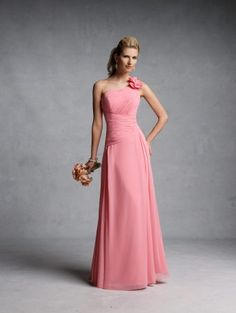 One-shoulder chiffon gown with asymmetrical neckline, ruched bust and waistband, bow accent on shoulder, soft skirt with front side pleats and corset back. Free made-to-measurement service for any size. Available colors seen as in Color Options.