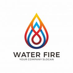 Water and fire logo design Premium Vector Water Drop Logo, Water Logo, Software, Water Images, Poster Design Inspiration, Company Slogans, Band Logos, Bottle Design, Fire