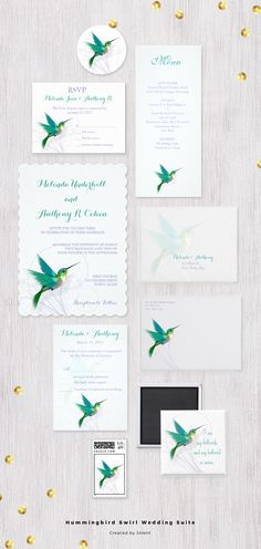 Hummingbird Swirl - This beautiful customizable Wedding Invitation Suite features a delicate silver gray swirl design with a teal colored hummingbird that gives a soft romantic feel with a slight vintage yet contemporary modern look.