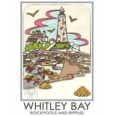 Whitley Bay Travel Poster St Mary's Lighthouse Limpets Beach Seaside Seaside Holidays, Seal Beach, Collagraph, Travel Posters, Have Time, Beautiful Images, Vintage Posters, Lighthouse, Saints