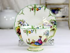 Aynsley Crinoline Lady Teacup, Rare Tea Cup and Saucer, English Bone China J-