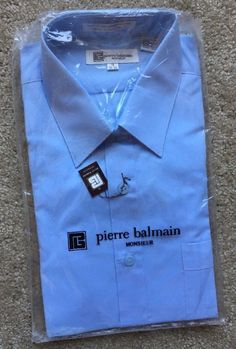 Pierre Balmain Men's SKY BLUE Button Down Dress Shirt ~NWT~ Size 16 34-35  | eBay