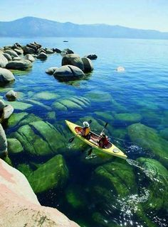Gliding across the crystal clear waters of Lake Tahoe. USA