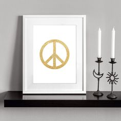 Peace sign Gold. Printable and decorative wall art. by Cartelmania