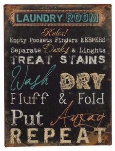 Laundry Room Wall Art - cute! It could be hung on wire with clothes pins..