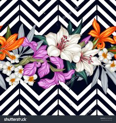 Vector Tropical Leaves And Flowers Seamless Pattern. Hand Painted Illustration On Geometric Background - 407383468 : Shutterstock