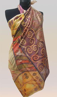 Autumn Spirals - hand painted silk scarf