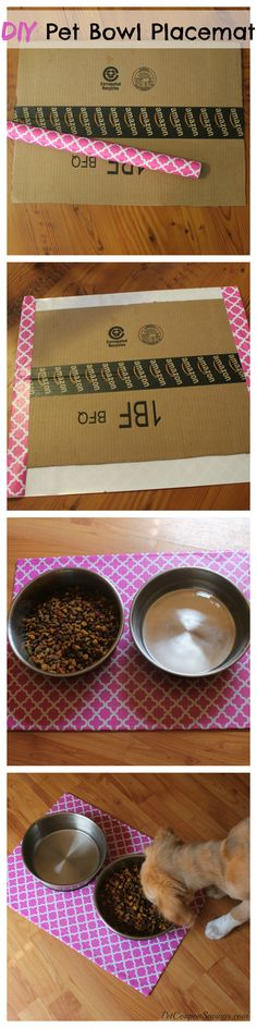 DIY Pet Bowl Placemat. How cute is this?! It's so fun and EASY to make! #diy #dogs #cats #easy