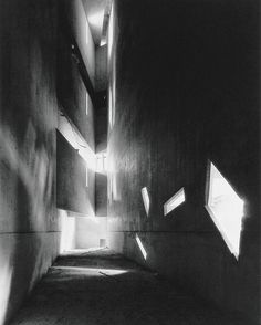 Ryuji Miyamotos haunting shot of the built to designs by Ryuji Miyamoto / Courtesy Galerie Kicken Berlin. Link in bio. Jewish Museum, Daniel Libeskind, Monochrome Photography, Light And Shadow, Berlin, How To Memorize Things, In This Moment, Black And White, Architecture