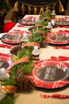 Pancakes and pajamas holiday party tablescape.