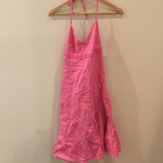 J Crew pink linen halter dress Adorable linen dress. In great condition! J. Crew Dresses