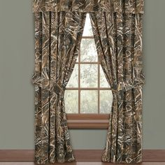 Realtree Lined Curtains w/valance x Geese Ducks Grass Camo Hunting Tier Curtains, Cafe Curtains, Valance Curtains, Drapes And Blinds, Window Drapes, Balloon Valance, Custom Drapes, House Windows, Window Treatments