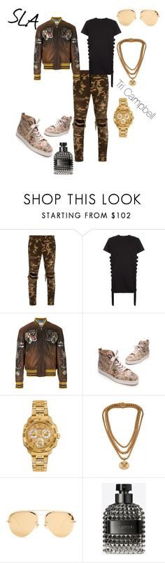 """That Way"" by tritheslaqueen on Polyvore featuring Balmain, Gucci, Christian Louboutin, Versace, Linda Farrow and Valentino"