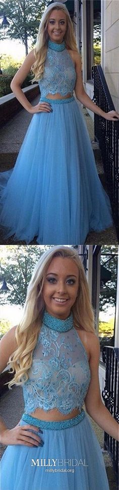 Blue Prom Dresses Long, Two-pieces Prom Dresses Princess, High Neck Prom Dresses Tulle, Beading Prom Dresses Lace Casual Evening Dresses, Modest Formal Dresses, Glamorous Evening Dresses, Winter Formal Dresses, Formal Dresses For Teens, Prom Dresses Blue, Party Dresses, Prom Gowns, Formal Prom
