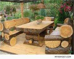 Wooden bench and table want