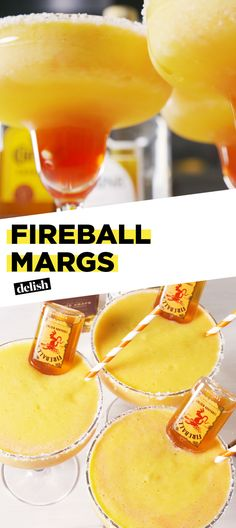 Fireball Whisky lovers, you've never had a margarita like THIS before. Get the recipe at Delish.com. #recipe #easy #easyrecipe #cocktails #booze #drinking #alcohol #tequila #whiskey #bourbon #fireball #pineapple #cocktailrecipe