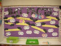 Bat Facts bulletin board created by Christen Juel with the help of students in her class. Includes Venn Graphs comparing bats with birds and sentence strip bat facts.