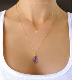 Purple Quartz Necklace - Multi Strand Monogram Initial Necklace