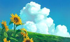 Cute Desktop Wallpaper, Aesthetic Desktop Wallpaper, Anime Scenery Wallpaper, Landscape Wallpaper, Aesthetic Backgrounds, Cartoon Wallpaper, Wallpaper Backgrounds, Studio Ghibli Background, Ipad Background
