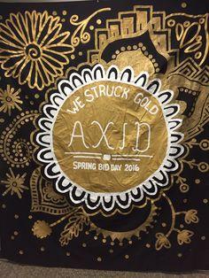 We Struck Gold Bid Day Spring Recruitment, Recruitment Themes, Alpha Xi Delta, Tri Delta, Sorority Bid Day, Sorority Life, Bid Day Themes, Big Little Reveal, Gold Rush