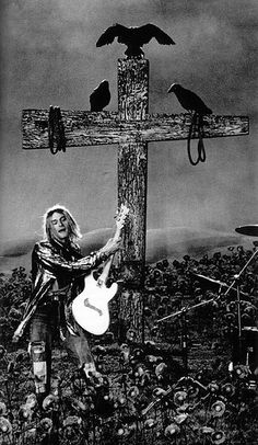 nirvana. kurt cobain. cross. crows. black and white photograph. | RP » I'm so happy. Cause today I found my friends. They're in my head.