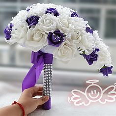 Purple With White Rose Bridal Bouquet and Groom Boutonniere Royal Waterfall Drape Happy Bride's Bouquet 5003351 2016 – $38.99