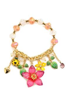 Flower & Ladybug Charm Stretch Bracelet by Betsey Johnson Jewelry & Watches on @HauteLook