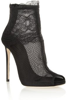 Dolce  amp  Gabbana Lace-trimmed net ankle boots  ebc22bdf139