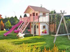 Wooden playhouse for girls Girls Playhouse, Playhouse Ideas, Wooden Playhouse, Outside Games, Play Houses, Playground, Park, Bebe, Children Playground