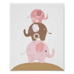 Meninas da arte do elefante do berçário poster