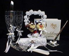 Wedding Cake Toppers 20935: Tasmanian Devil Taz Wedding Cake Topper Lot Glasses Server Guest Book Garter -> BUY IT NOW ONLY: $164.8 on eBay!