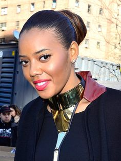 Angela Simmons tames her mane by slicking it back. Relaxed Hairstyles, Celebrity Hairstyles, Angela Simmons, Hair Dos, Envy, Black Hair, Hair Color, Entertainment, Celebrities