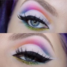 "♡@goddessbonbon ""Perfect rainbow cut crease by @dixiewolff using #sugarpill Buttercupcake, Flamepoint, Dollipop, 2am, Velocity and Acidberry eyeshadows! """