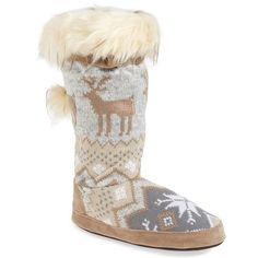 MUK LUKS 'Winnie' Slipper Boot ($27) ❤ liked on Polyvore featuring shoes, slippers, boots and winter white fabric