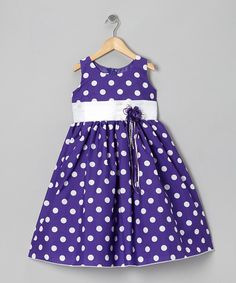 Look at this Purple Polka Dot & Ribbon Dress - Toddler & Girls on #zulily today!