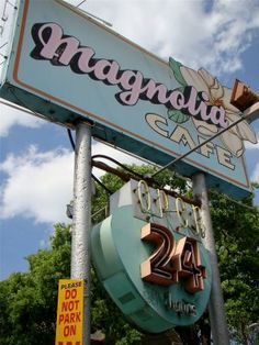 Magnolia Cafe~ best breakfasts in town! Austin, TX Rebbi I want your confirmation on this. Austin Homes, Austin Tx, Best Places To Eat, Great Places, Road Trip Organization, Vintage Neon Signs, Old Signs, Texas Travel, Down South