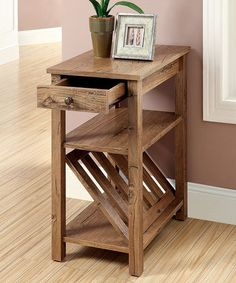 Look at this #zulilyfind! Rustic Oak Weathered Elm Side Table #zulilyfinds