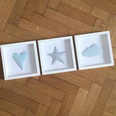 Guten Morgen!  Diese 3 Stoffbilder haben sich gestern noch auf den Weg in ihr neues zu Hause gemacht!  #kinderzimmer #babyzimmer #baby2016 #norabellahome #stoffbild #boysroom #girlsroom #handmade #handgemacht #handmadeinmunich #handmadewithlove #stern #herz #wolke