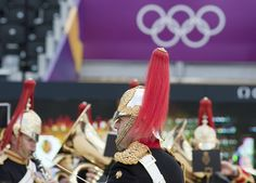 """The Band of The Blues & Royals playing """"The Final Countown"""" at the London 2012 Olympics Beach Volleyball Venue at Horse Guards Parade."""