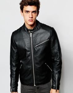 ASOS+Faux+Leather+Racing+Biker+With+Quilting+in+Black