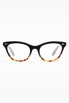 'Emma' Gradient Frame Cat Eye Clear Glasses - Black/Tortoise - 1029-8