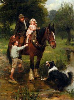A Friendly Hand~ Riding The Plough-Horse ~ Arthur John Elsley (1860 – 1952, English)