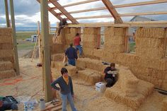 Straw-bale construction | Straw Bale construction workshop for Ellensburg barn raising and wall ...