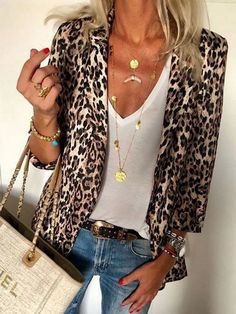 Ericdress Leopard Nine Points Sleeve Lapel Standard Spring Casual Blazer - Fashion Week Cardigan Fashion, Blazer Fashion, Fashion Top, Fashion Dresses, Classic Fashion, Fashion Fall, Fashion Tips For Women, Womens Fashion, Fashion Trends