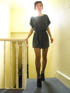 Diy Couture Tshirt Dress  Made from a man's shirt and elastic.
