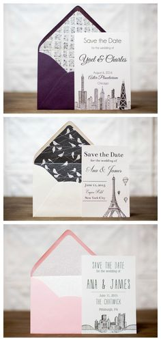 Black and white skyline wedding save the dates with colorful envelopes! Unique Wedding Stationery, Handmade Wedding Invitations, Wedding Envelopes, Custom Wedding Invitations, Wedding Stationary, Invites, Unique Save The Dates, Wedding Save The Dates, Save The Date Cards