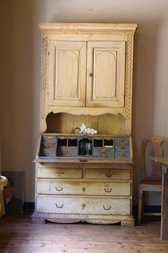 A traditional 19th century Swedish secretary desk in two parts.
