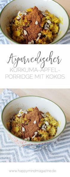 Hier kommt eines meiner Lieblingsrezepte für einen ayurvedischen Frühstücksbrei. Kurkuma, Apfel, Haferflocken und Kokoszucker. So köstlich!