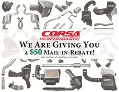 CORSA PERFORMANCE & VOLANT PERFORMANCE $50 MAIL-IN REBATE ON SELECT INTAKES: Corsa Performance… #Rebates #Shipping_Specials #Special_Deals