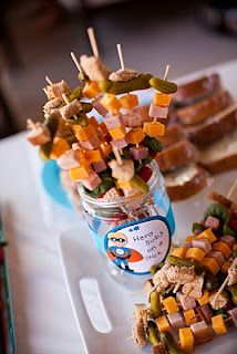 Super hero subs on a a stick! Great idea for party snacks!